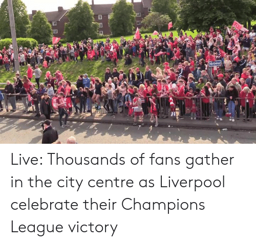 Dank, Liverpool F.C., and Champions League: uthiay Live: Thousands of fans gather in the city centre as Liverpool celebrate their Champions League victory