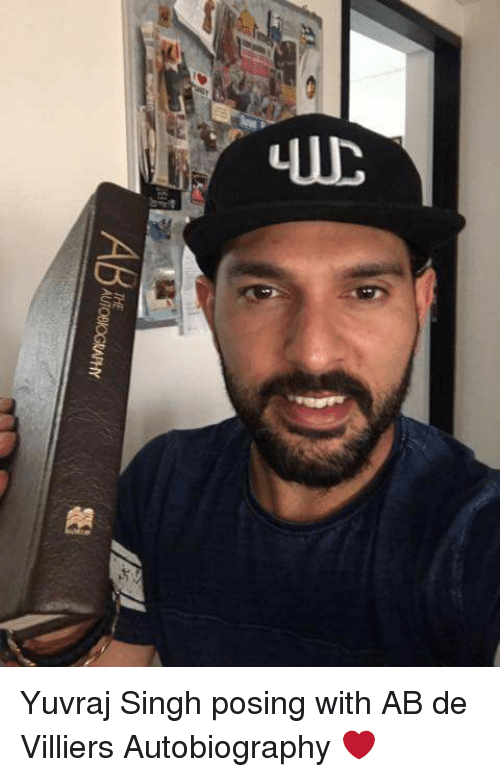 Memes, Autobiography, and 🤖: UTOBIOGRAMY Yuvraj Singh posing with AB de Villiers Autobiography ❤