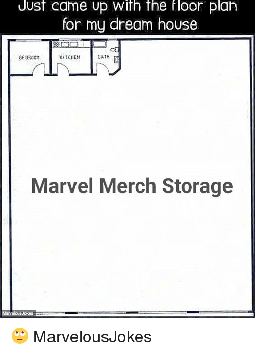 Memes, House, and Marvel: Uust came up With the floor plan  for my dream house  EUROOM  KIICHEN  BATH  Marvel Merch Storage 🙄 MarvelousJokes