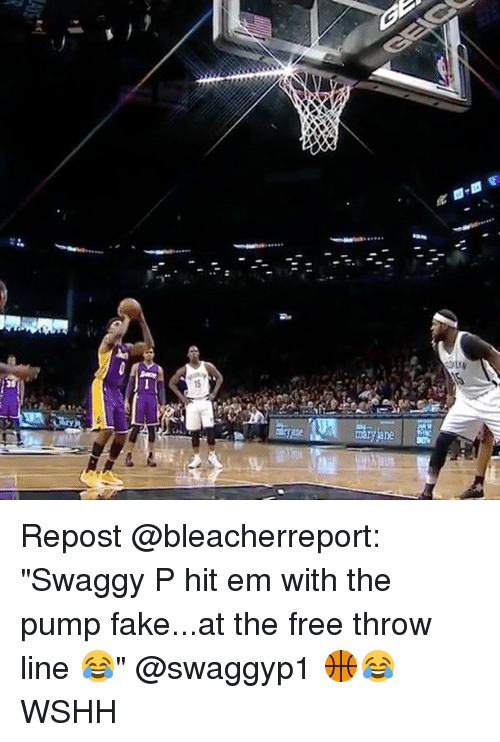 "Swaggy: V Repost @bleacherreport: ""Swaggy P hit em with the pump fake...at the free throw line 😂"" @swaggyp1 🏀😂 WSHH"