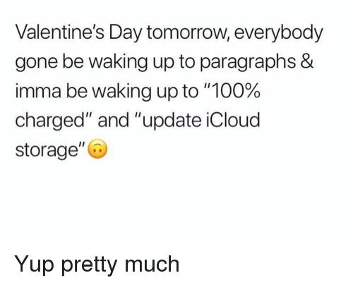 "Anaconda, Funny, and Valentine's Day: Valentine's Day tomorrow, everybody  gone be waking up to paragraphs &  imma be waking up to ""100%  charged"" and ""update iCloud  storage"" Yup pretty much"