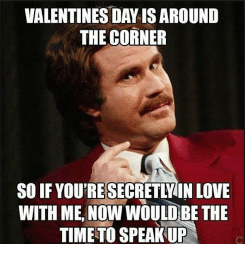 Love, Time, and Speak: VALENTINES DAYIS AROUND  THE CORNER  SO IF YOU'RE SECRETLY IN LOVE  WITH ME, NOW WOULD BE THE  TIME TO SPEAK UP