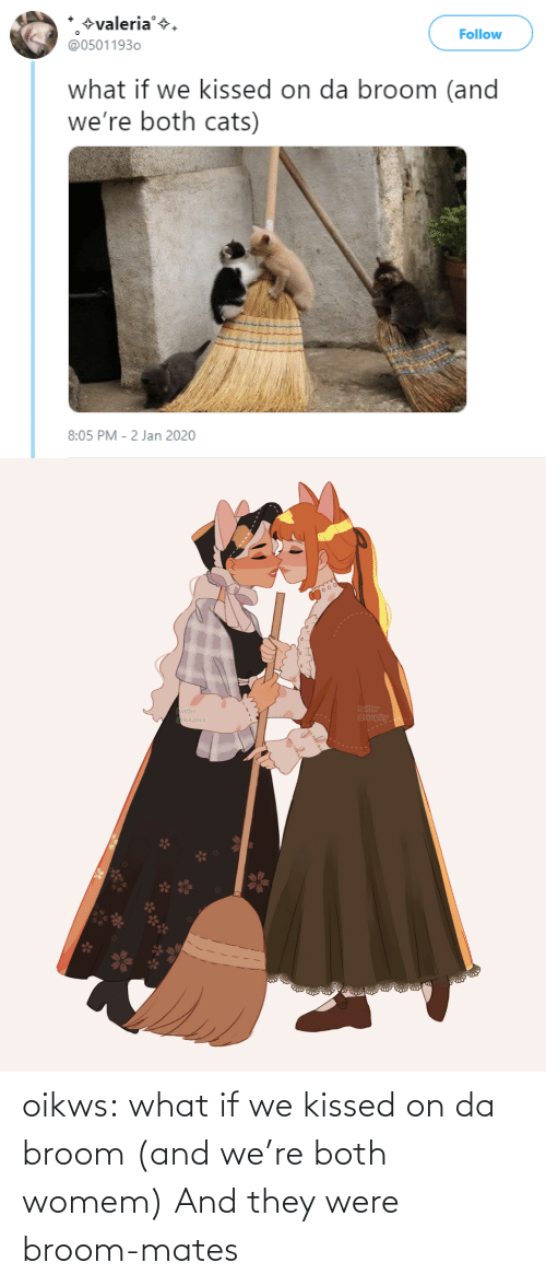 Cats: +valeria'+.  @05011930  Follow  what if we kissed on da broom (and  we're both cats)  8:05 PM - 2 Jan 2020   twitter  @suupicy  twitter  A Osuupicy oikws: what if we kissed on da broom (and we're both womem)   And they were broom-mates