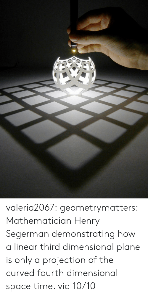 Facebook, Gif, and Target: valeria2067:  geometrymatters:     Mathematician Henry Segerman demonstrating how a linear third dimensional plane is only a projection of the curved fourth dimensional space time.  via 10/10