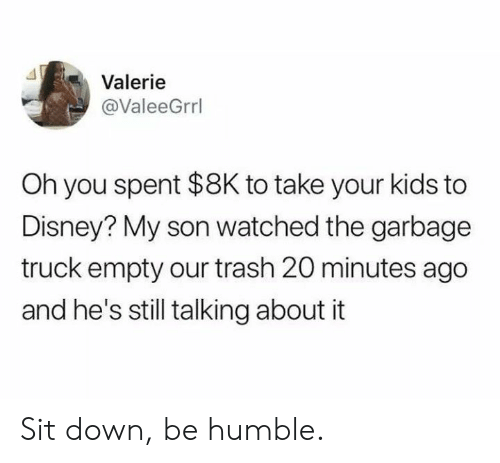 Dank, Disney, and Trash: Valerie  @ValeeGrrl  Oh you spent $8K to take your kids to  Disney? My son watched the garbage  truck empty our trash 20 minutes ago  and he's still talking about it Sit down, be humble.