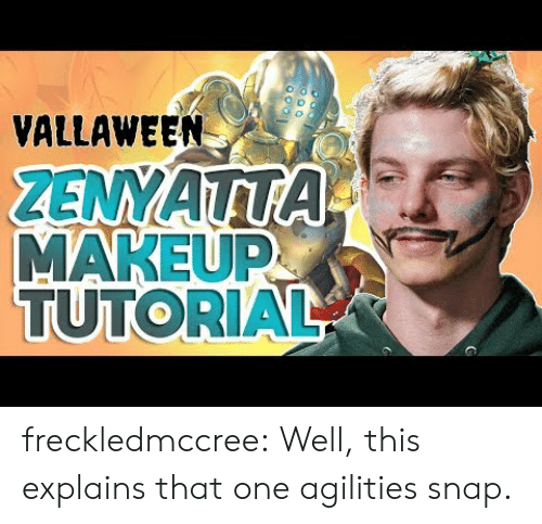 Makeup, Tumblr, and Blog: VALLAWEEN  MAKEUP  TUTORIAL freckledmccree:  Well, this explains that one agilities snap.