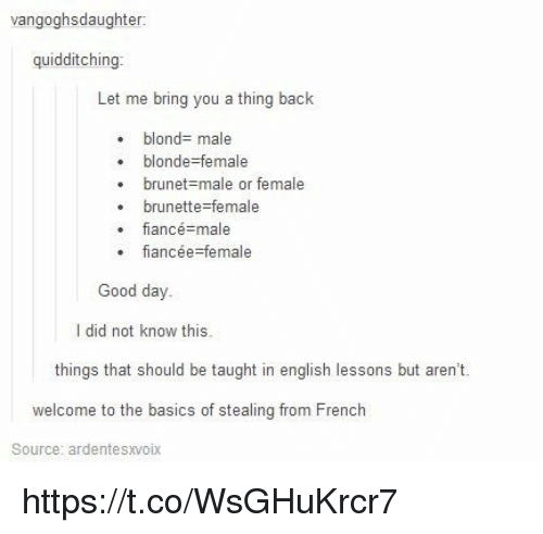 Fiance, Good, and English: vangoghsdaughter:  quidditching  Let me bring you a thing back  blond- male  blonde-female  brunet-male or female  brunette-female  fiance=male  fiancée-female  Good day  I did not know this.  things that should be taught in english lessons but aren't.  welcome to the basics of stealing from French  Source: ardentesxvoix https://t.co/WsGHuKrcr7