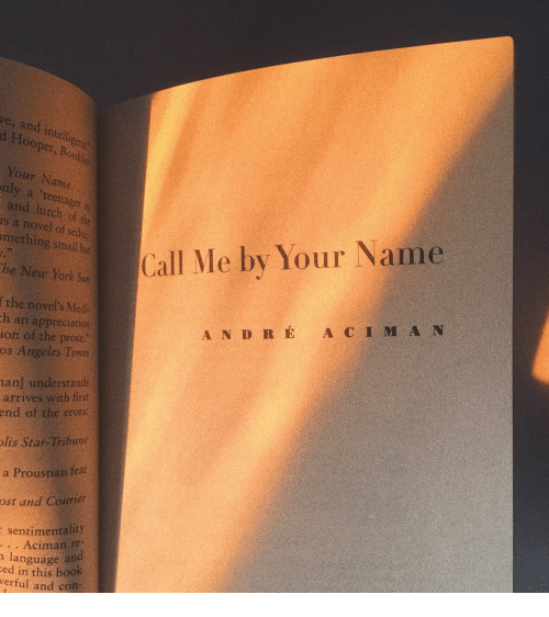 erotic: ve, and intell  d Hooper  gent  , Bookl  Your Name  nly a 'teenager in  and lurch of the  is a novel of sedoc  mething sall but  Call Me by Your Name  he New York Sun  f the novel's Med  ion of the prose  h an appreciation  A N D R É A C I M A N  os Angeles Times  an] understands  arrives with first  end of the erotic  lis Star-Tribune  a Proustian feat  ost and Courier  sentimentality  . . Aciman re-  ed in this book  language and  verful and con