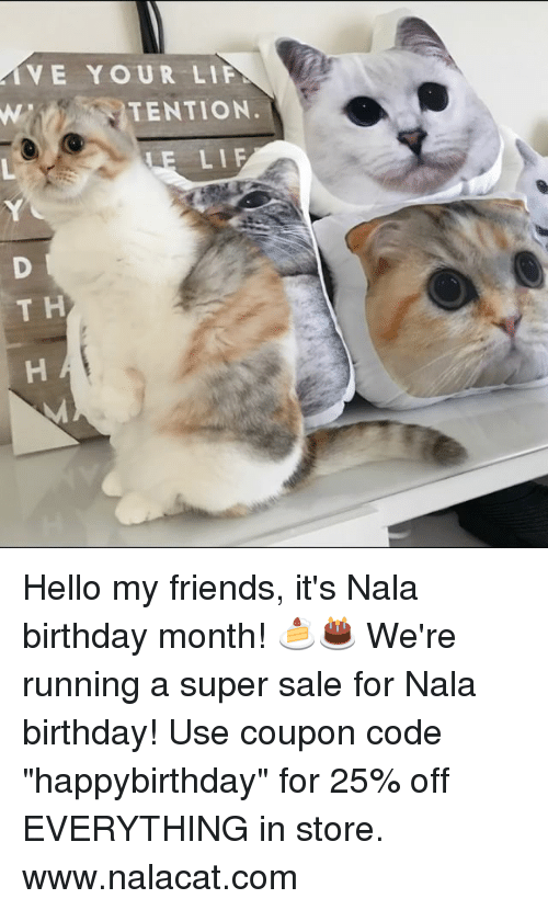 """Birthday Month: VE YOUR LIF  TENTION  LE LIF Hello my friends, it's Nala birthday month! 🍰🎂 We're running a super sale for Nala birthday! Use coupon code """"happybirthday"""" for 25% off EVERYTHING in store. www.nalacat.com"""