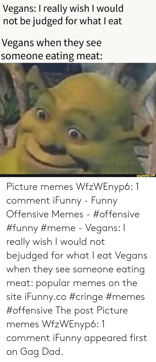 funny meme: Vegans: I really wish I would  not be judged for what I eat  Vegans when they see  someone eating meat:  lanishBearRider  if ynny.co Picture memes WfzWEnyp6: 1 comment iFunny - Funny Offensive Memes - #offensive #funny #meme - Vegans: I really wish I would not bejudged for what I eat Vegans when they see someone eating meat: popular memes on the site iFunny.co #cringe #memes #offensive The post Picture memes WfzWEnyp6: 1 comment iFunny appeared first on Gag Dad.
