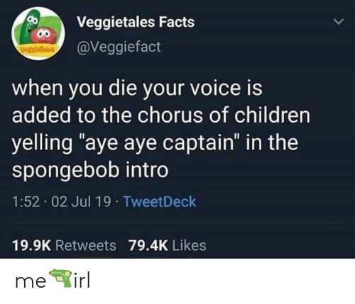 "intro: Veggietales Facts  00  @Veggiefact  VegstieTales  when you die your voice is  added to the chorus of children  yelling ""aye aye captain"" in the  spongebob intro  1:52 02 Jul 19 TweetDeck  19.9K Retweets 79.4K Likes me🔫irl"