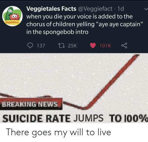 "intro: Veggietales Facts @Veggiefact · 1d  when you die your voice is added to the  chorus of children yelling ""aye aye captain""  in the spongebob intro  VegsieTales  27 25K  137  101K  BREAKING NEWS  SUICIDE RATE JUMPS TO 100% There goes my will to live"
