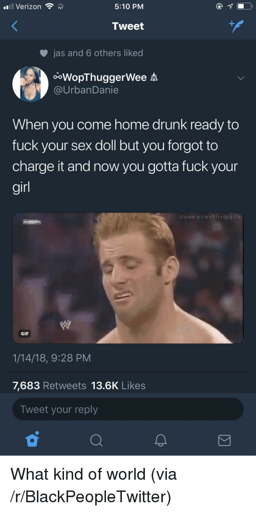 Blackpeopletwitter, Drunk, and Gif: Verizon  5:10 PM  Tweet  jas and 6 others liked  ooWopThuggerWee A  @UrbanDanie  When you come home drunk ready to  fuck your sex doll but you forgot to  charge it and now you gotta fuck your  gir  ilovewrestlingaifs  GIF  1/14/18, 9:28 PM  7,683 Retweets 13.6K Likes  Tweet your reply <p>What kind of world (via /r/BlackPeopleTwitter)</p>