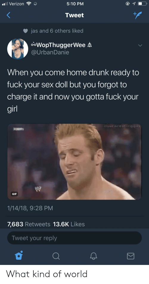 Drunk, Gif, and Sex: Verizon  5:10 PM  Tweet  jas and 6 others liked  ooWopThuggerWee A  @UrbanDanie  When you come home drunk ready to  fuck your sex doll but you forgot to  charge it and now you gotta fuck your  gir  ilovewrestlingaifs  GIF  1/14/18, 9:28 PM  7,683 Retweets 13.6K Likes  Tweet your reply What kind of world