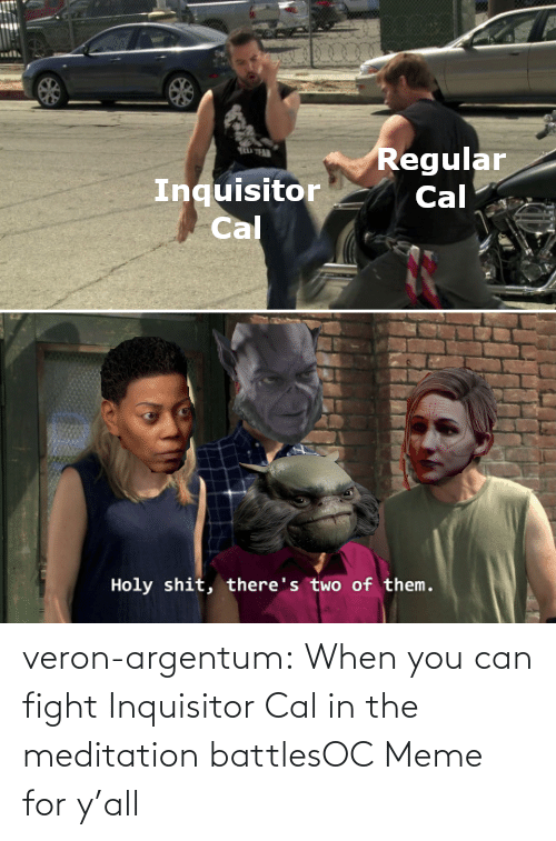 Ÿ˜˜: veron-argentum:  When you can fight Inquisitor Cal in the meditation battlesOC Meme for y'all