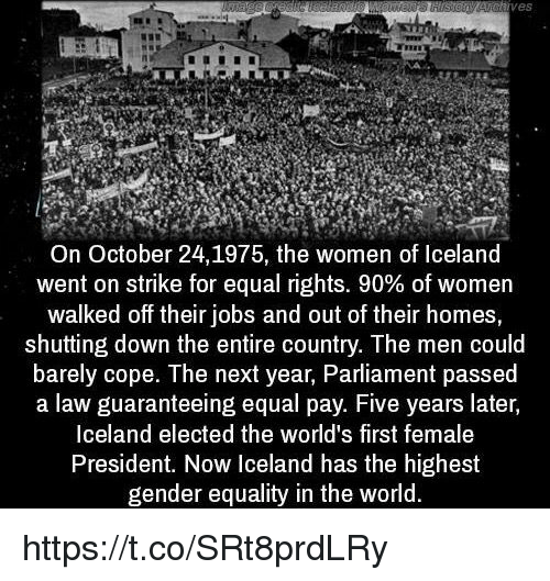 Iceland, Jobs, and Women: VeS  On October 24, 1975, the women of Iceland  went on strike for equal rights. 90% of women  walked off their jobs and out of their homes,  shutting down the entire country. The men could  barely cope. The next year, Parliament passed  a law guaranteeing equal pay. Five years later,  Iceland elected the world's first female  President. Now Iceland has the highest  gender equality in the world. https://t.co/SRt8prdLRy