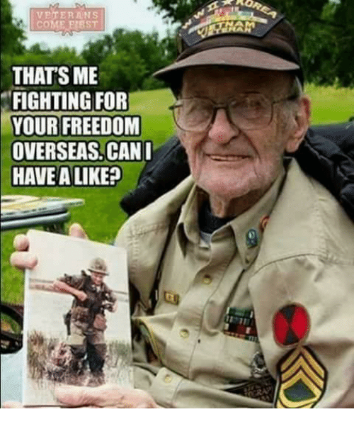 Memes, Freedom, and 🤖: VETERANS  cOME PI8ST  THATS ME  FIGHTING FOR  YOUR FREEDOM  OVERSEAS. CANI  HAVE A LIKE