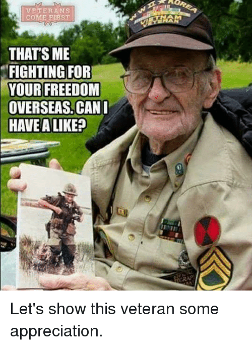 Memes, Freedom, and 🤖: VETERANS  COME PIBST  THAT'S ME  FIGHTING FOR  YOUR FREEDOM  OVERSEAS. CAN  HAVE A LIKE? Let's show this veteran some appreciation.