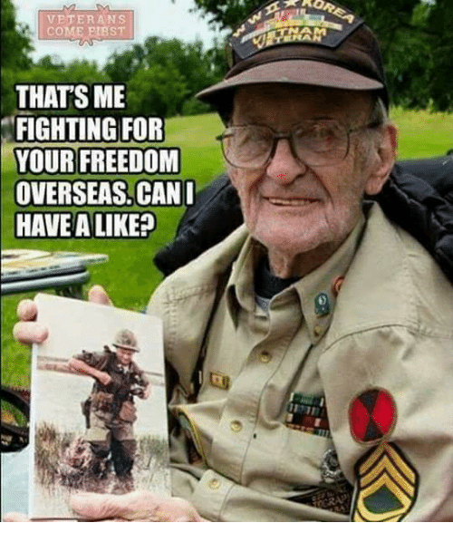 Memes, Freedom, and 🤖: VETERANS  COME PIBST  THAT'S ME  FIGHTING FOR  YOUR FREEDOM  OVERSEAS. CAN  HAVE A LIKE?