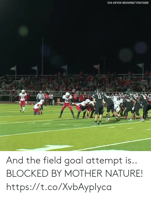 Football, Nfl, and Sports: VIA KEVIN BEINING/YOUTUBE And the field goal attempt is.. BLOCKED BY MOTHER NATURE! https://t.co/XvbAypIyca