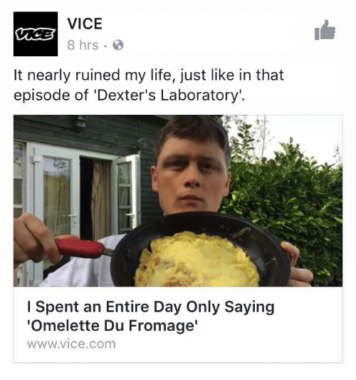 Life, Dexter's Laboratory, and Irl: VICE  8 hrs  It nearly ruined my life, just like in that  episode of Dexter's Laboratory'.  I spent an Entire Day Only Saying  'Omelette Du Fromage'  WWW.VICe.COm