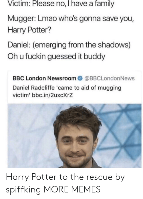 Daniel Radcliffe, Dank, and Family: Victim: Please no, I have a family  Mugger: Lmao who's gonna save you,  Harry Potter?  Daniel: (emerging from the shadows)  Oh u fuckin guessed it buddy  BBC London Newsroom@BBCLondonNews  Daniel Radcliffe 'came to aid of mugging  victim' bbc.in/2uxcXrZ Harry Potter to the rescue by spiffking MORE MEMES