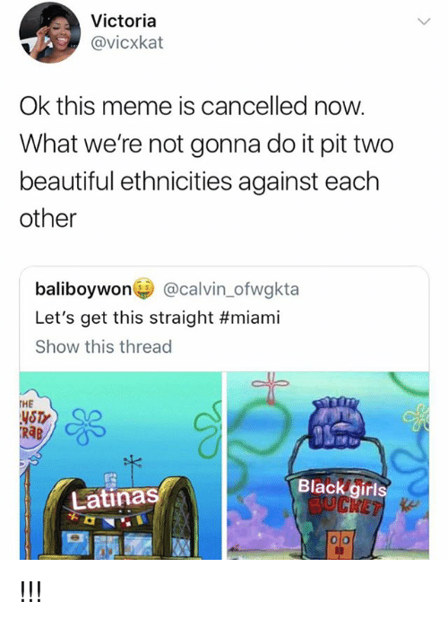 Beautiful, Meme, and Girl Memes: Victoria  @vicxkat  Ok this meme is cancelled now.  What we're not gonna do it pit two  beautiful ethnicities against each  other  baliboywon@calvin_ofwgkta  Let's get this straight #miami  Show this thread  THE  YSTY  RAB  Blackgirls  Latinas !!!