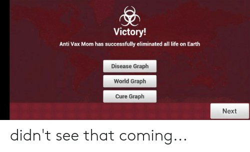 Life, Earth, and World: Victory!  Anti Vax Mom has successfully eliminated all life on Earth  Disease Graph  World Graph  Cure Graph  Next didn't see that coming...