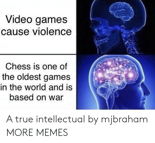 Chess: Video games  cause violence  Chess is one of  the oldest games  in the world and is  based on war A true intellectual by mjbraham MORE MEMES
