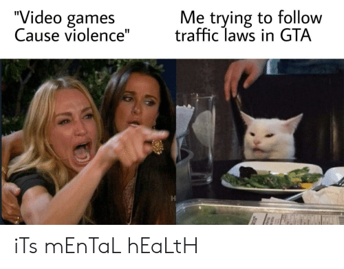 "Traffic, Video Games, and Games: ""Video games  Cause violence""  Me trying to follow  traffic laws in GTA iTs mEnTaL hEaLtH"