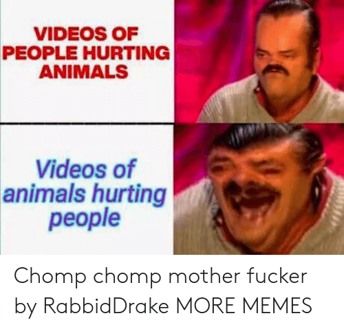 Animals, Dank, and Memes: VIDEOS OF  PEOPLE HURTING  ANIMALS  Videos of  animals hurting  реople Chomp chomp mother fucker by RabbidDrake MORE MEMES