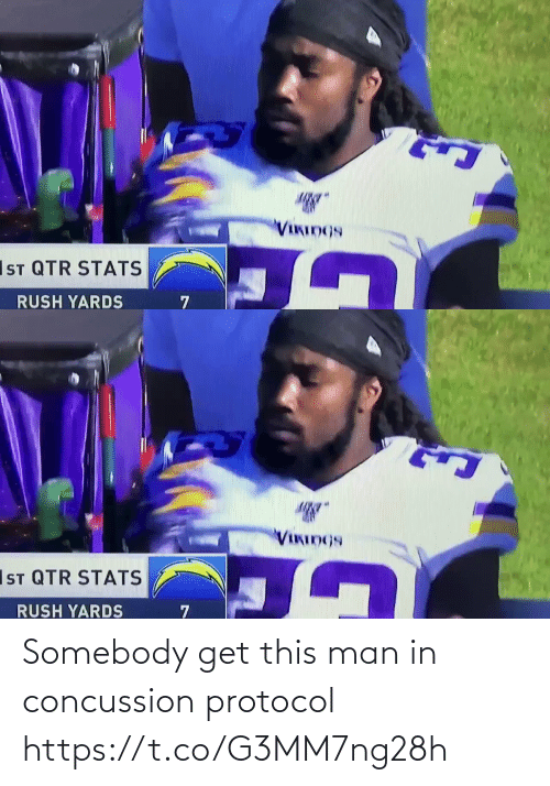 Rush: VIKIDGS  IST QTR STATS  RUSH YARDS   VIKINGS  IsT QTR STATS  RUSH YARDS Somebody get this man in concussion protocol  https://t.co/G3MM7ng28h