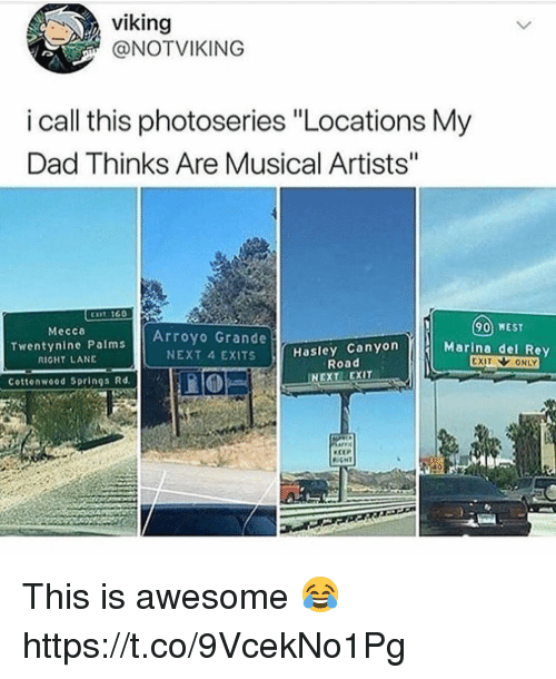 """Dad, Rey, and Awesome: viking  @NOTVIKING  i call this photoseries """"Locations My  Dad Thinks Are Musical Artists""""  90 WEST  Marina del Rey  Mecca  Twentynine Palms  RIGHT LANE  Arroyo Grande  NEXT 4 EXITS  Hasley Canyon  Road  Cottonwood Springs Rd  NEXT EXIT  CEP This is awesome 😂 https://t.co/9VcekNo1Pg"""