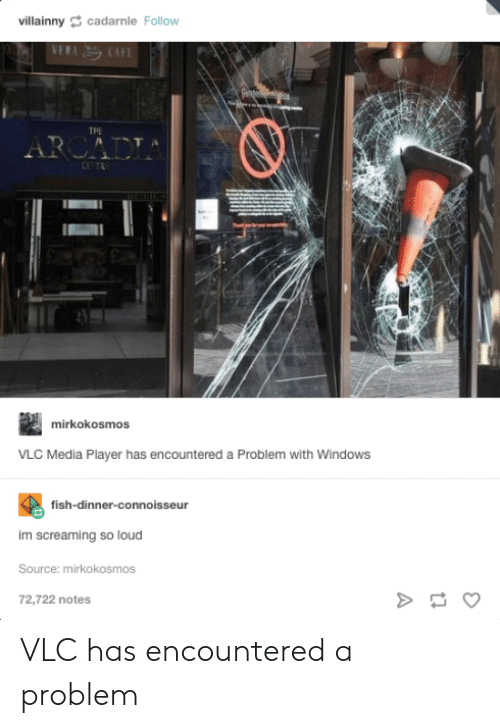 connoisseur: villainnycadarnle Follow  THE  mirkokosmos  VLC Media Player has encountered a Problem with WindowS  fish-dinner-connoisseur  im screaming so loud  Source: mirkokosmos  72,722 notes VLC has encountered a problem