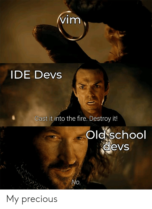 Fire, Precious, and School: vim  IDE Devs  Cast it into the fire. Destroy it!  Old school  devs  No. My precious