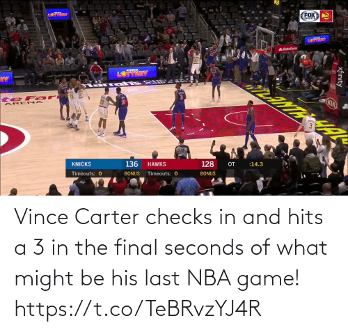 A 3: Vince Carter checks in and hits a 3 in the final seconds of what might be his last NBA game!   https://t.co/TeBRvzYJ4R