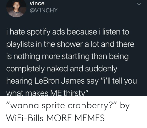 "cranberry: vince  @VİNCHY  i hate spotify ads because i listen to  playlists in the shower a lot and there  is nothing more startling than being  completely naked and suddenly  hearing LeBron James say ""i'll tell you  what makes ME thirsty"" ""wanna sprite cranberry?"" by WiFi-Bills MORE MEMES"