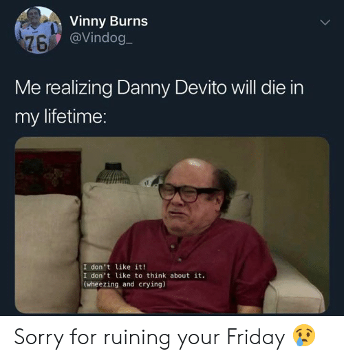 Crying, Friday, and Memes: Vinny Burns  @Vindog  Me realizing Danny Devito will die in  my lifetime:  I don't like it!  I don't like to think about it.  (wheezing and crying) Sorry for ruining your Friday 😢