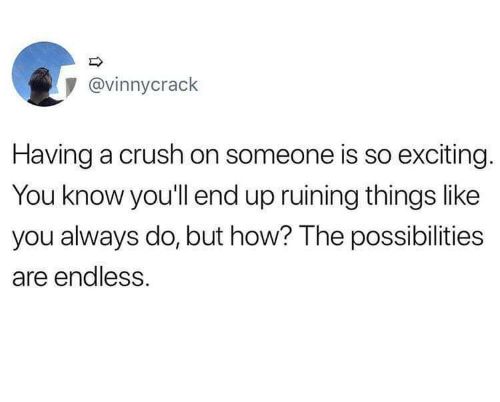 Crush, How, and You: @vinnycrack  Having a crush on someone is so exciting.  You know you'll end up ruining things like  you always do, but how? The possibilities  are endless.