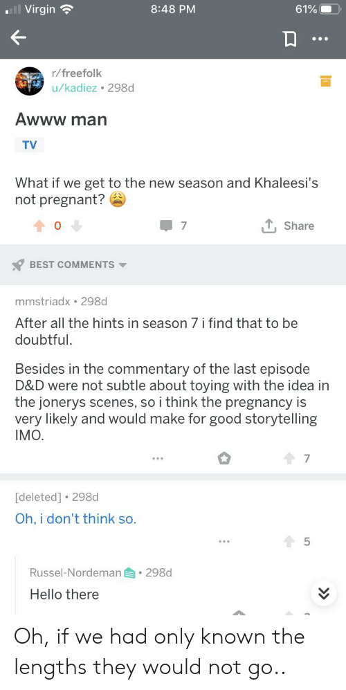 Hello, Pregnant, and Virgin: Virgin  8:48 PM  61%  r/freefolk  u/kadiez 298d  Awww man  TV  What if we get to the new season and Khaleesi's  not pregnant?  T, Share  7  BEST COMMENTS  mmstriadx 298d  After all the hints in season 7 i find that to be  doubtful.  Besides in the commentary of the last episode  D&D were not subtle about toying with the idea in  the jonerys scenes, so i think the pregnancy is  very likely and would make for good storytelling  IMO.  7  [deleted] 298d  Oh, i don't think so.  5  Russel-Nordeman  298d  Hello there Oh, if we had only known the lengths they would not go..