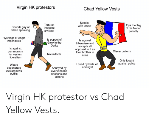 Af, Police, and Virgin: Virgin HK protestors  Chad Yellow Vests  Speaks  with power  Tortures  innocent  civilians  Flys the flag  of his Nation  Sounds gay af  when speaking  proudly  Flys flags of Anglo  imperialists  Is puppet of  Glow in the  Darks  Is against  Liberalism and  accepts all  opposed to it as  their brother in  Is against  communism  for western  liberalism  Clever uniform  No uniform  arms  Only fought  against police  Loved by both left  and right  Wears  degenerate  western style  outfits  Annoyed by  everyone but  neocons and  lolberts Virgin HK protestor vs Chad Yellow Vests.
