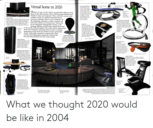 Virtual Reality: Virtual home in 2020  Massage rollers move  the length of the couch  Screen displays  advice  RELAXATION SERVICE  The future family will  be able to relax using a  therapy couch. Sensitive  arms and rollers will  Virtual station  HOMES OF THE FUTURE will be considerably different from  those of the 20th century. They will be energy-efficient and  simple to clean and maintain. They will have access to the  gently massage tired body  aches  parts, easing away  combines  thought control  technology  with artificial  sensory feedback  and pains. The couch will  be linked to a special  physiotherapy service,  which will give expert  advice on health,  diet, and exercise.  outside world via a global communications  network, making it easy to run a business, do  the shopping, and plan a winter vacation, all  from the comfort of a living room. There will  be an integrated management system, with  heating, lighting, and security controls that react  to the needs of the occupants. The walls will be constructed  from new interactive materials that are able to change  appearance at the touch of a button to suit a particular  mood, while high-resolution wraparound video  IDEAL HOME  By the year 2020, some of us might be lucky enough  to live in homes with all the latest technology. They  will be built from durable materials that require  little maintenance. Fully automated, they will react  changes in the weather and adjust heating and  cooling controls to maintain a pleasant environment.  VIRTUAL REALITY TRAINER  The 2020 home will have its  own virtual reality machine.  With this, the family will be able  to practice dangerous sports such  as mountain climbing or bungee  jumping, or visit exotic locations  on a virtual  vacation at  the touch of  WRIST SET  Unlike conventional  watches, which only tell the  time and date or do simple  computing tasks, this wrist  set will provide information  the wearer desires, for  example, the sports scores  or traffic repo