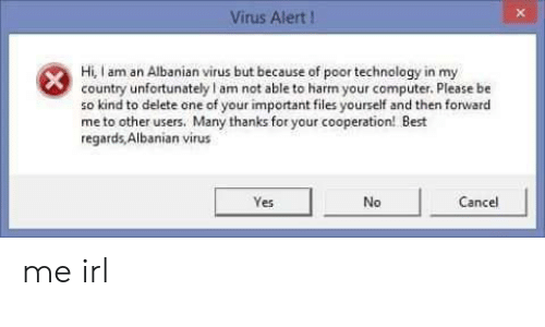 Best, Computer, and Technology: Virus Alert I  Hi, I am an Albanian virus but because of poor technology in my  country unfortunately am not able to harm your computer. Please be  so kind to delete one of your important files yourself and then forwarc  me to other users. Many thanks for your cooperation! Best  regards Albanian virus  Yes  No  Cancel me irl