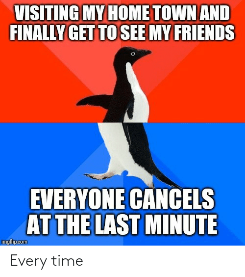 town: VISITING MY HOME TOWN AND  FINALLY GET TO SEE MY FRIENDS  EVERYONE CANCELS  AT THE LAST MINUTE  imgflip.com Every time