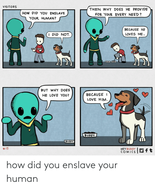how-did-you: VISITORS  THEN WHY DOES HE PROVIDE  HOW DID YOU ENSLAVE  FOR YOUR EVERY NEED?  YOUR HUMAN?  BECAUSE HE  I DID NOT.  LOVES ME.  BUODY UOY  BUT WHY DOES  HE LOVE YOU?  BECAUSE I  LOVE HIM.  BUDDY  BUDDY  2414  #15  HEYBUDDY  COMICS how did you enslave your human
