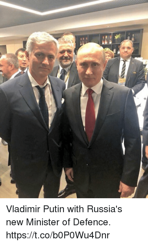 Soccer, Vladimir Putin, and Putin: Vladimir Putin with Russia's new Minister of Defence. https://t.co/b0P0Wu4Dnr