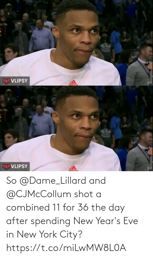 in-new-york-city: VLIPSY   VLIPSY So @Dame_Lillard and @CJMcCollum  shot a combined 11 for 36 the day after spending New Year's Eve in New York City? https://t.co/miLwMW8L0A