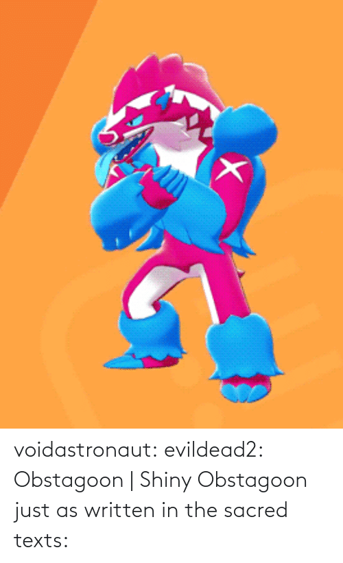 Tumblr, Blog, and Texts: voidastronaut: evildead2: Obstagoon | Shiny Obstagoon  just as written in the sacred texts: