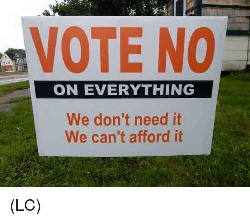 Memes, 🤖, and Vote: VOTE NO  ON EVERYTHING  We don't need it  We can't afford it (LC)