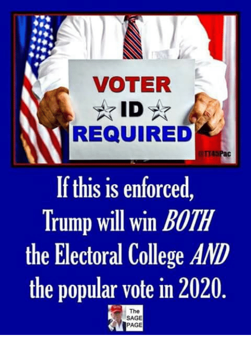 College, Memes, and Sage: VOTER  REQUIRED  If this is enforced  Trump will win BOTH  the Electoral College AND  the popular vote in 2020  The  SAGE  PAGE
